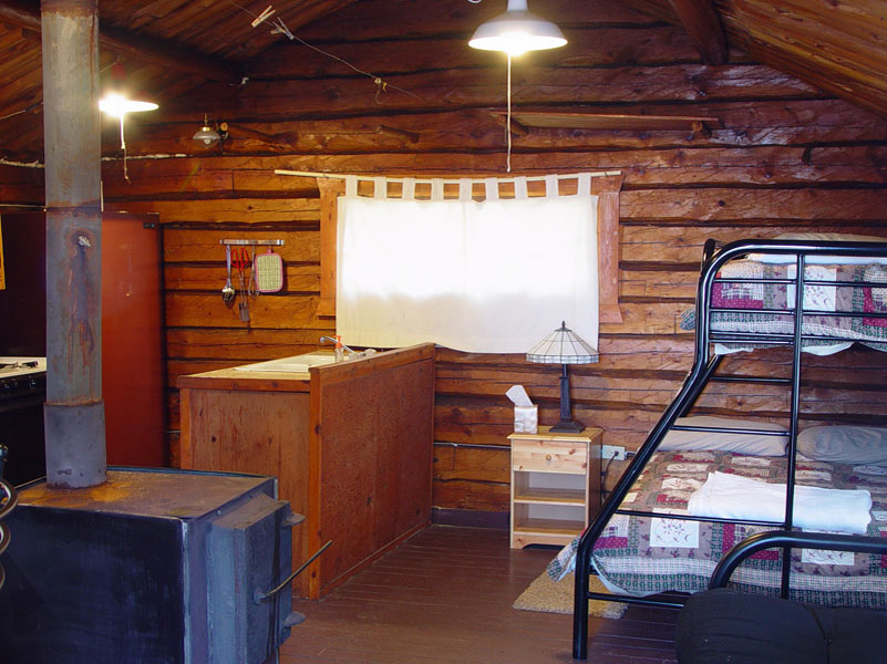 Cliff Lake Outpost log cabin authentic interior