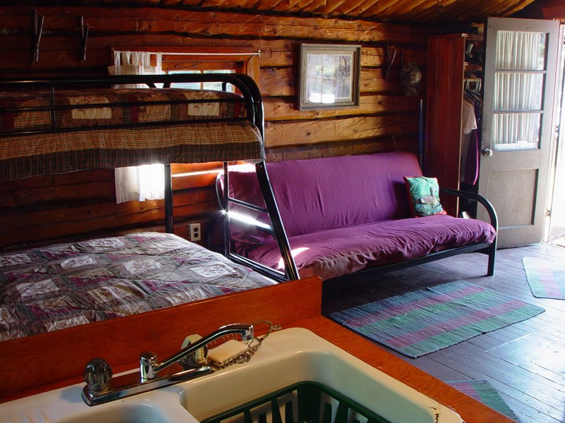 Cliff Lake Outpost log cabin authentic interior2