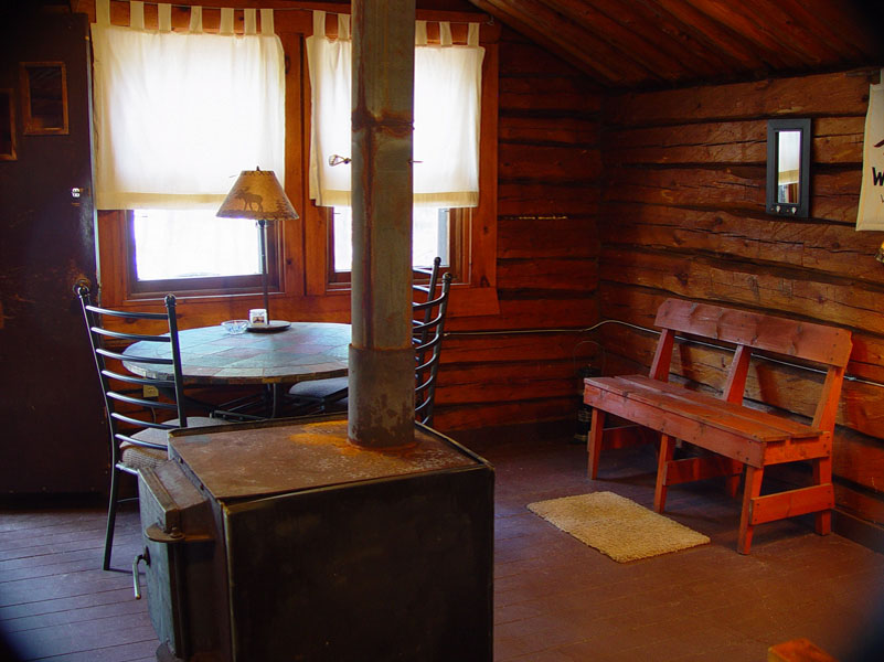 Cliff Lake Outpost authentic log cabin interior Cabin 3