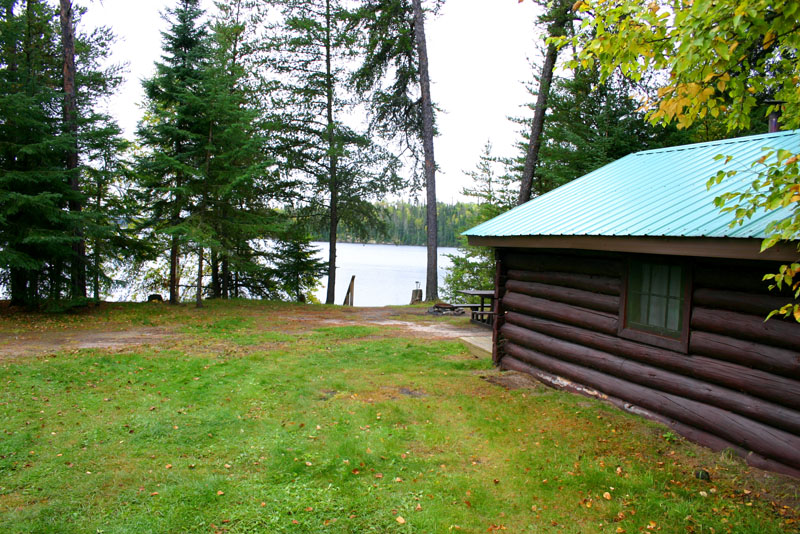 Cliff Lake Outpost log cabin view